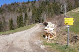 Abzweigung bei Zeisach - Wegpunkt 12 entlang der Tour